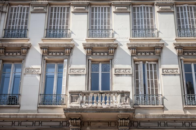 Typical Haussmann style facades, from the 19th century, traditional in the city centers of French cities such as Paris and Lyon royalty free stock images