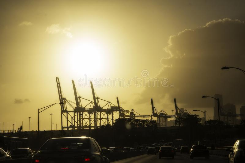 Traffic jam in front of a power plant in Miami Florida royalty free stock image