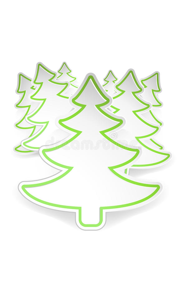 Picture of tree 2. Illustration of few paper christmas trees with transparent shadows on white background royalty free illustration