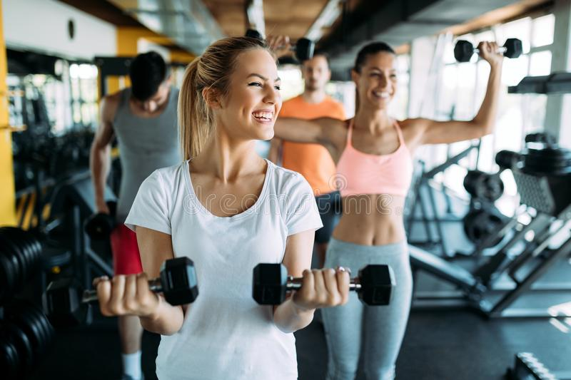 Picture of two fitness women in gym stock images