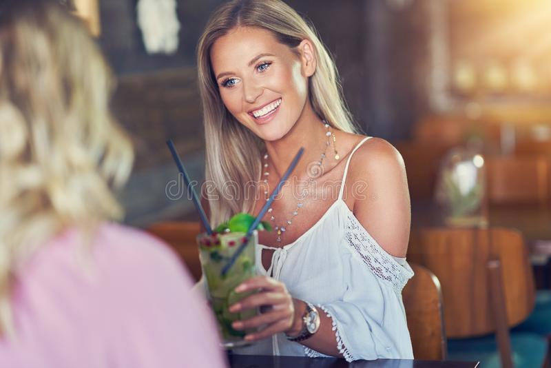 Two girl friends eating lunch in restaurant. Picture of two girl friends eating lunch in restaurant stock image