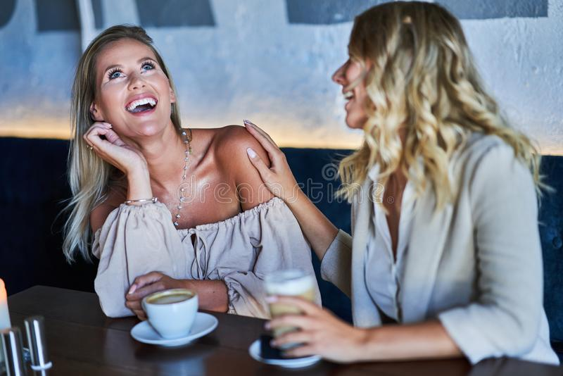 Two girl friends eating lunch in restaurant. Picture of two girl friends eating lunch in restaurant stock photos