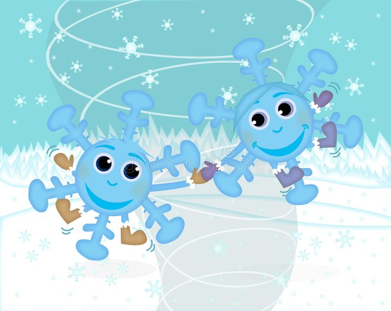 Snowflakes, winter fun. In the picture are two snowflakes with a face. They dance wit the wind vector illustration