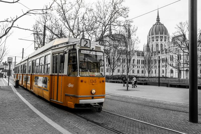 Typical yellow tram in Budapest stock images