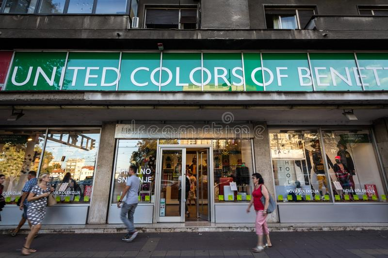 United Colors of Benetton logo on their main shop in Belgrade Benetton Group is a textile and clothing corporation royalty free stock photo