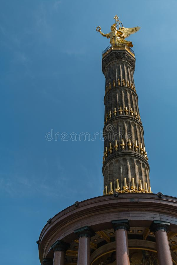 Victory Column I. A picture of the Victory Column taken from the street level, in Berlin stock photography
