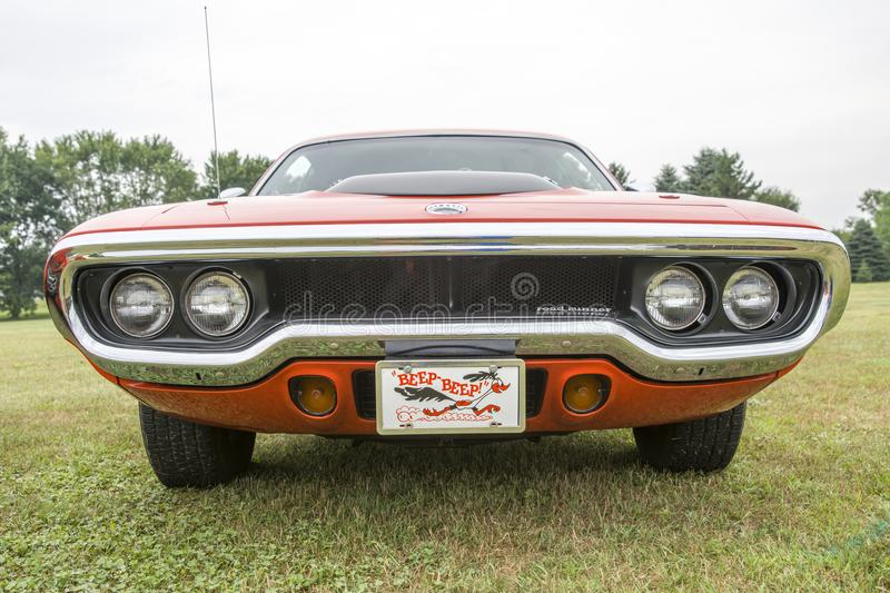 Plymouth road runner front end. Picture of vintage plymouth road runner front end royalty free stock images