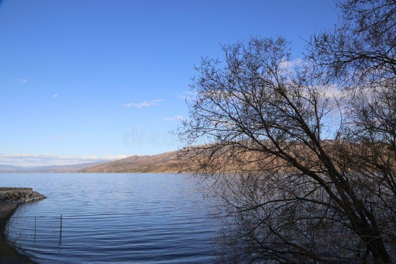 Canada lake and mountains postcard- Okanagan Valley, BC tourism royalty free stock photography
