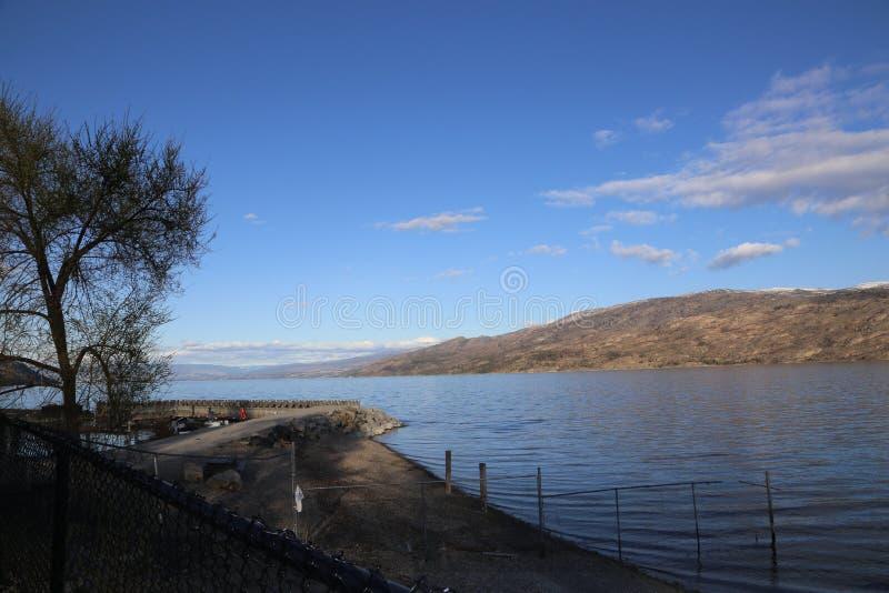 Canada lake and mountains postcard- Okanagan Valley, BC tourism royalty free stock images