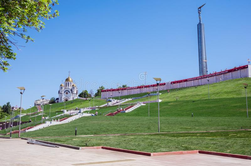St. George Church and the Monument of Glory with the banner `Samara in the game! FIFA World Cup 2018 in Russia` stock images