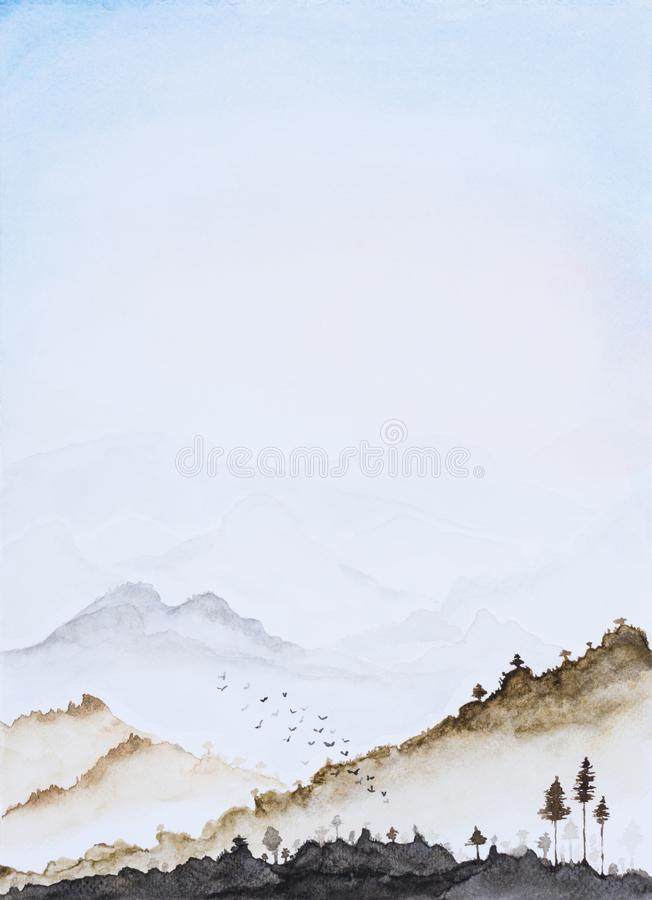 Picture water colour, hand draw, landscape vertical background. Picture water colour, hand draw, landscape background. Mountains silhouette fading in long royalty free stock photos