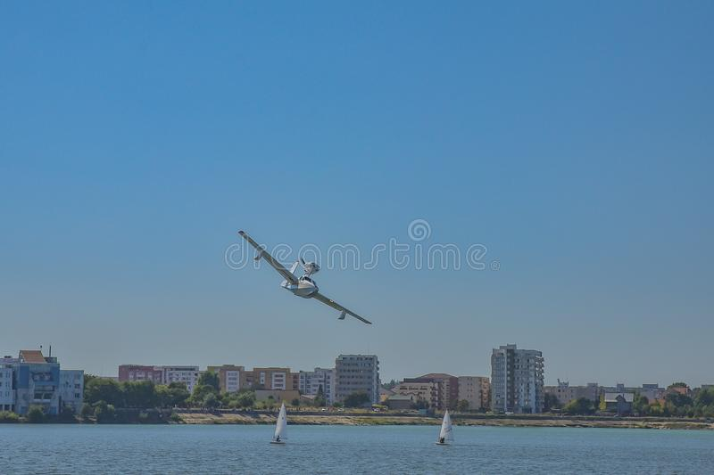 Water plane at Bucharest Aeronautic show. Picture with water plane on the sky at Bucharest Aeronautic show stock images