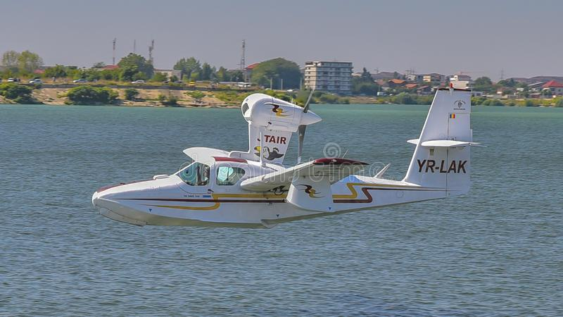 Water plane at Bucharest Aeronautic show. Picture with water plane on the sky at Bucharest Aeronautic show royalty free stock photography