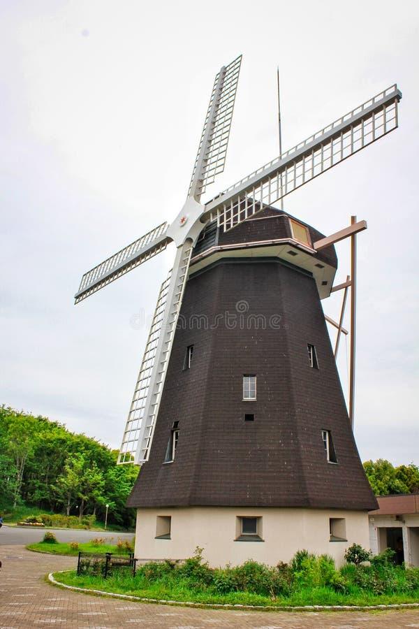 Picture of windmill in Tsurumi Ryokuchi Park, one travel tourism destination in Osaka Japan. Picture windmill tsurumi ryokuchi park one travel tourism stock photos