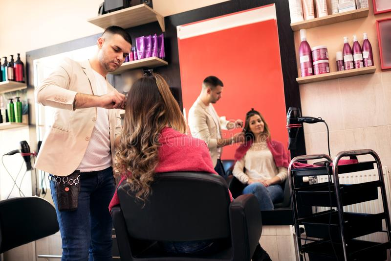 Picture of working day inside the beauty. Salon royalty free stock photography