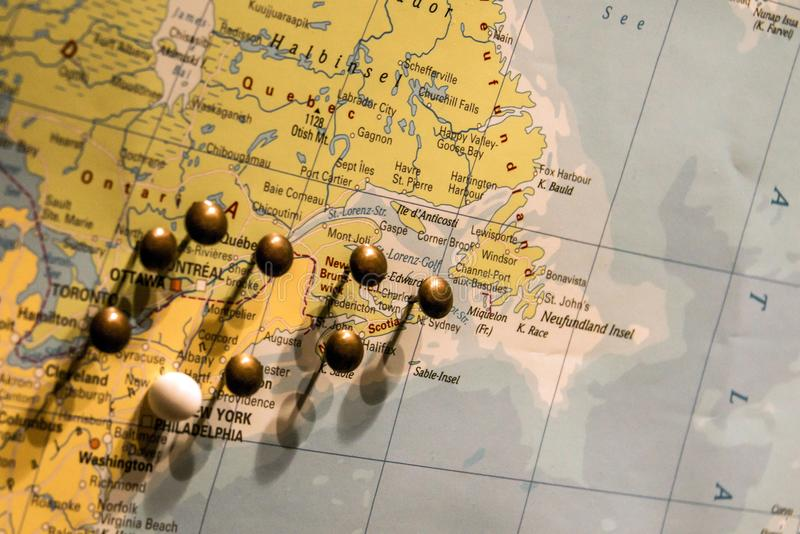 Picture of world map travel concept with many pushpins pins east usa download picture of world map travel concept with many pushpins pins east usa and canada stock gumiabroncs Choice Image