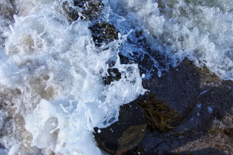 Water splashing on wood royalty free stock photos