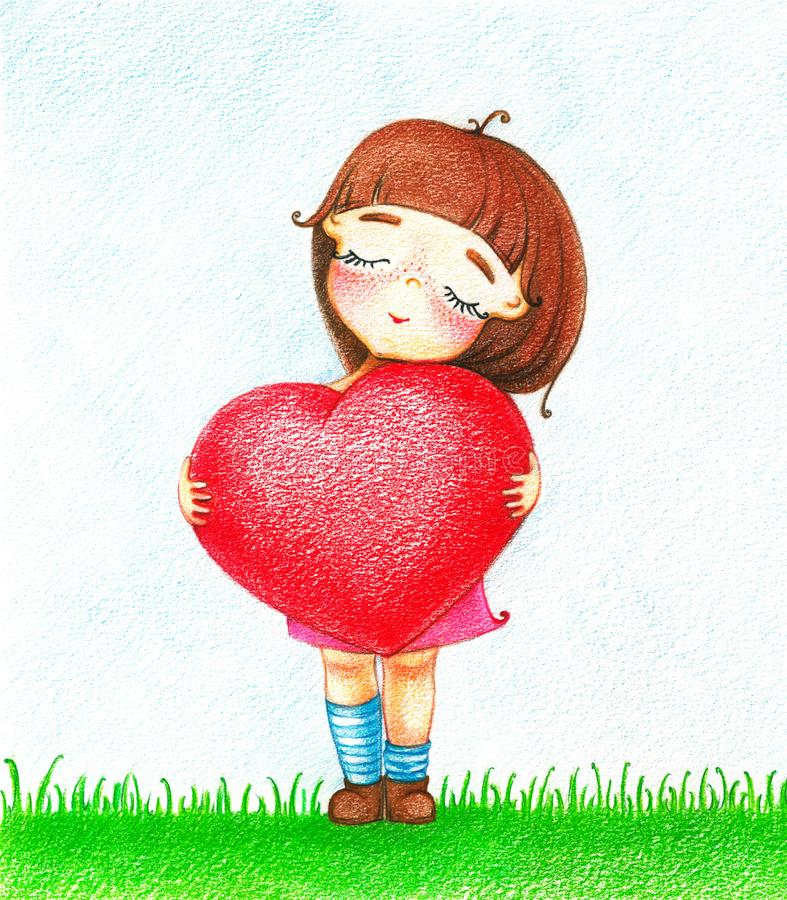 Picture of young girl with red heart by the color pencils. Hands drawn picture of young girl in pink dress with red heart standing on grass by the color pencils stock illustration