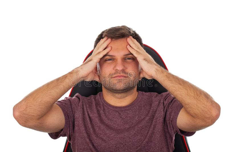 Stressed young worker royalty free stock photo
