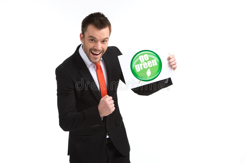 Picture of young happy man on white background. royalty free stock image