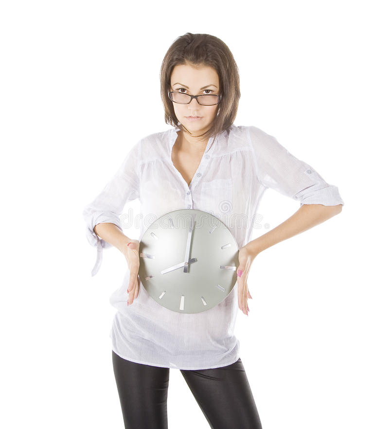 Download Picture Of Young Woman With Big Clock Royalty Free Stock Image - Image: 17953776