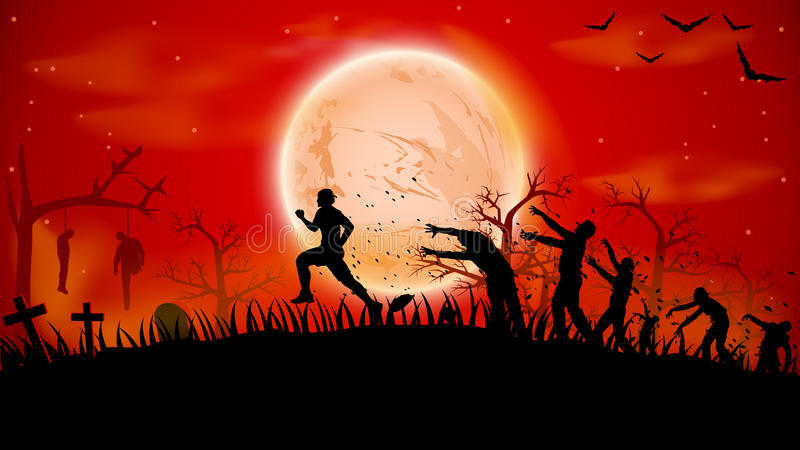 Picture of zombie run vector illustration