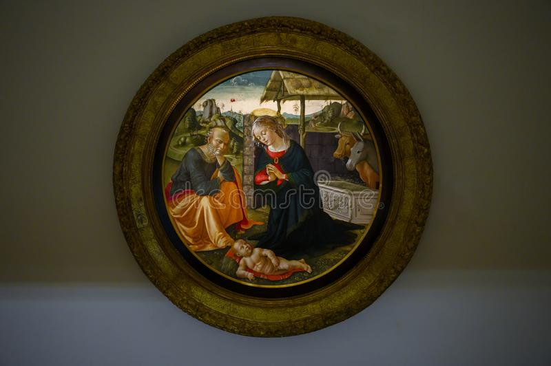 Adoration of the Child by Domenico Ghirlandaio in The Pinacota Ambrosiana, Ambrosian art gallery in Milan, Italy royalty free stock photos