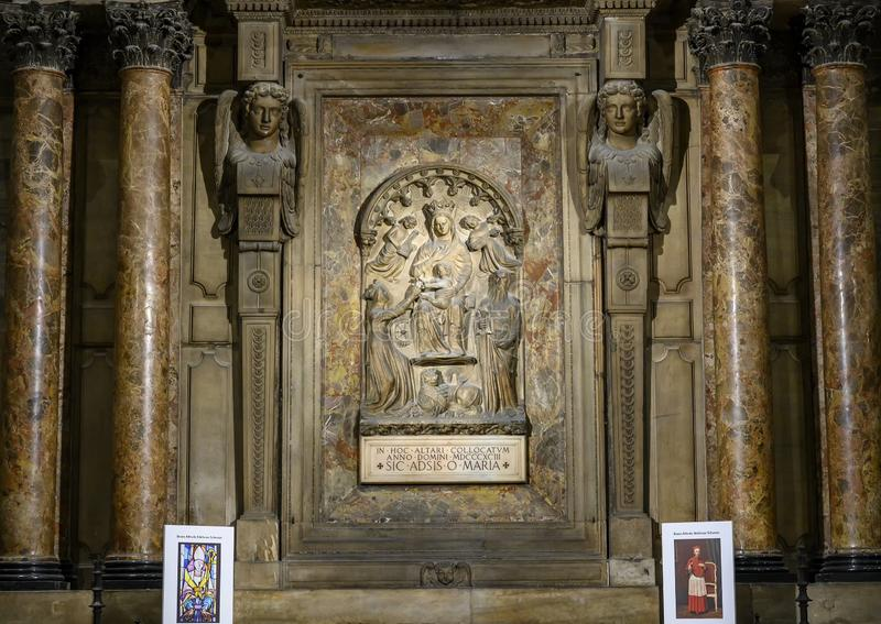 Altar of Mary by Pelligrini, Milan Cathedral or Duomo di Milano, the cathedral church of Milan, Lombardy, Italy. stock photography