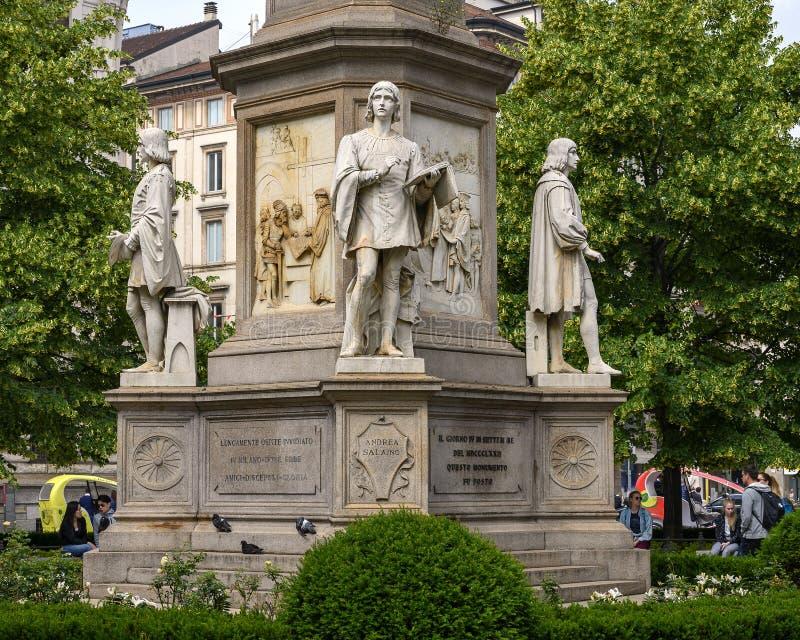 Andrea Salaino, Monument to Leonardo Da Vinci in Piazza della Scala Square, Milan, Italy. Pictured is Andrea Salaino, part of a monument to Leonardo Da Vinci in stock images