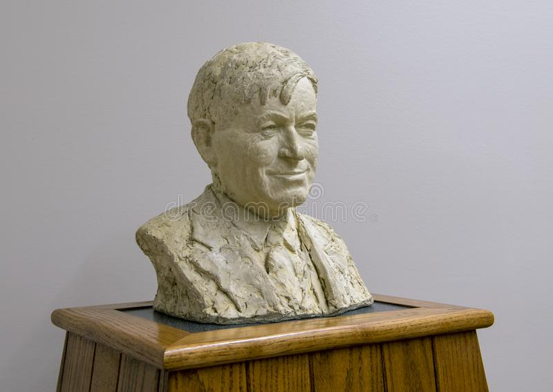 Bronze bust Will Rogers, Claremore, Oklahoma. Pictured is a bronze bust of Will Rogers by Emil Seletz MD in the Will Rogers Memorial Museum in Claremore royalty free stock image