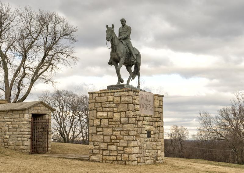 Bronze sculpture of Will Rogers on horseback, Claremore, Oklahoma stock images
