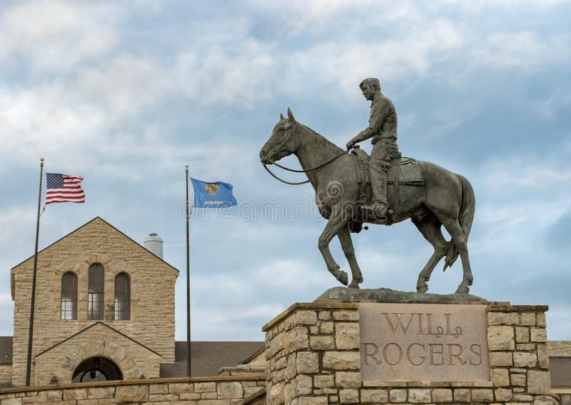 Bronze sculpture of Will Rogers on horseback, Claremore, Oklahoma stock image