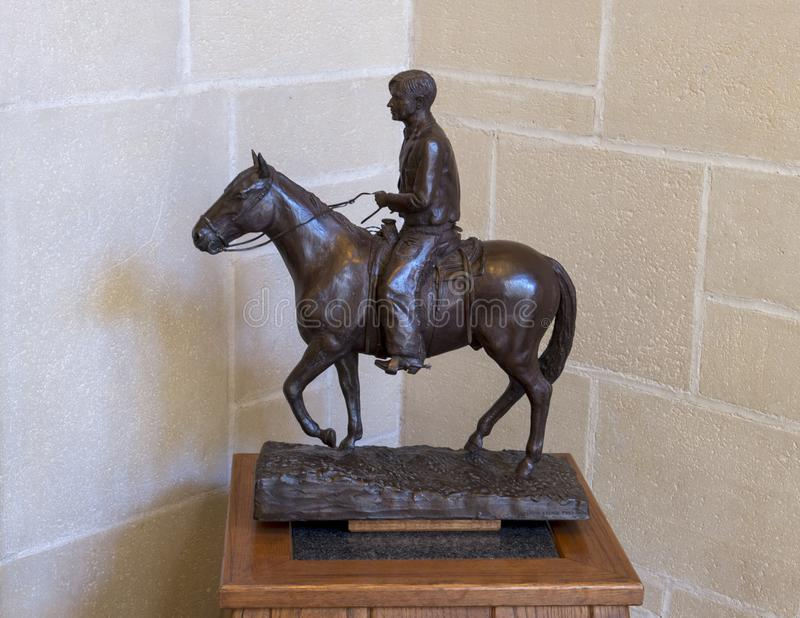 Bronze sculpture of Will Rogers on horseback, Claremore, Oklahoma stock photo