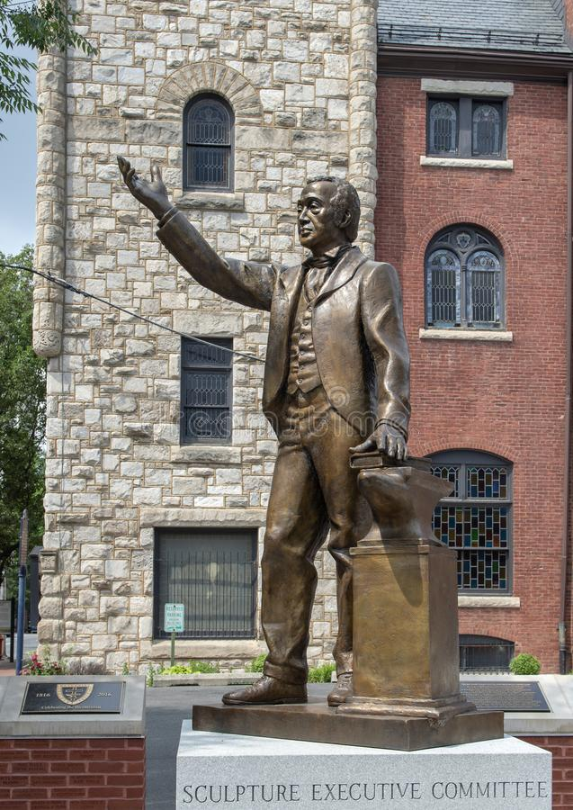 Bronze statue of Richard Allen at Mother Bethel African Methodist Episcopal Church, Philadelphia. Pictured is a bronze statue of Richard Allen at the Mother stock photos