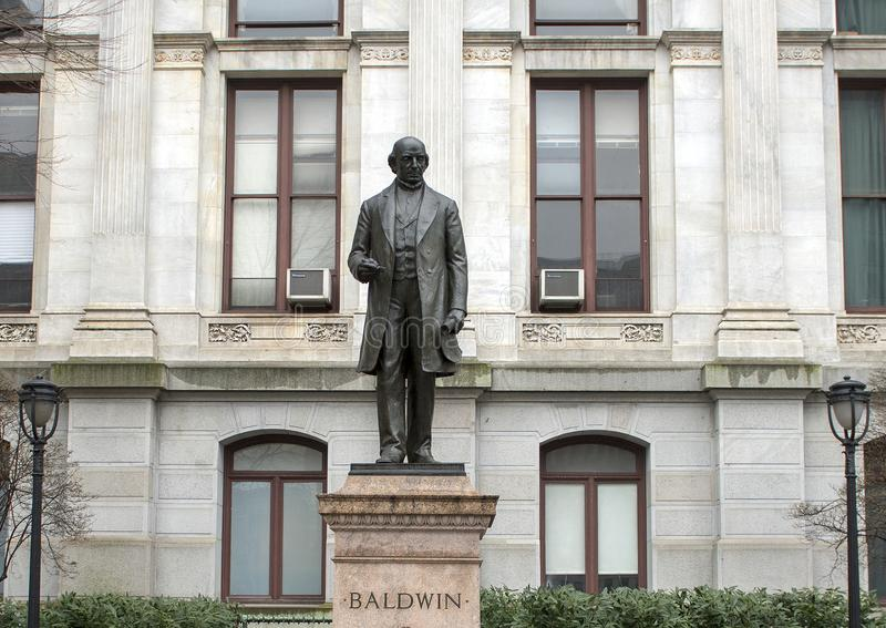 Matthias William Baldwin bronze statue, City Hall, Philadelphia, Pennsvlvania. Pictured is a bronze statue of Matthias William Baldwin, American inventor and stock image
