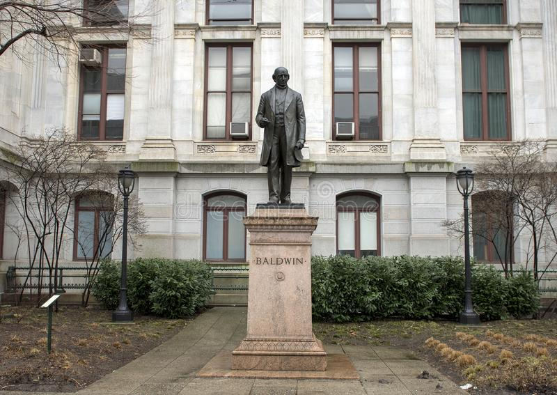 Matthias William Baldwin bronze statue, City Hall, Philadelphia, Pennsvlvania. Pictured is a bronze statue of Matthias William Baldwin, American inventor and stock photography