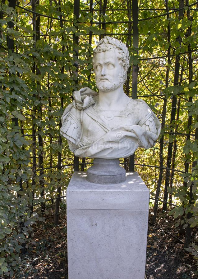 Carrara marble bust of a Roman Emperor, sculpture garden, Rijksmuseum, Amsterdam, Netherlands stock image