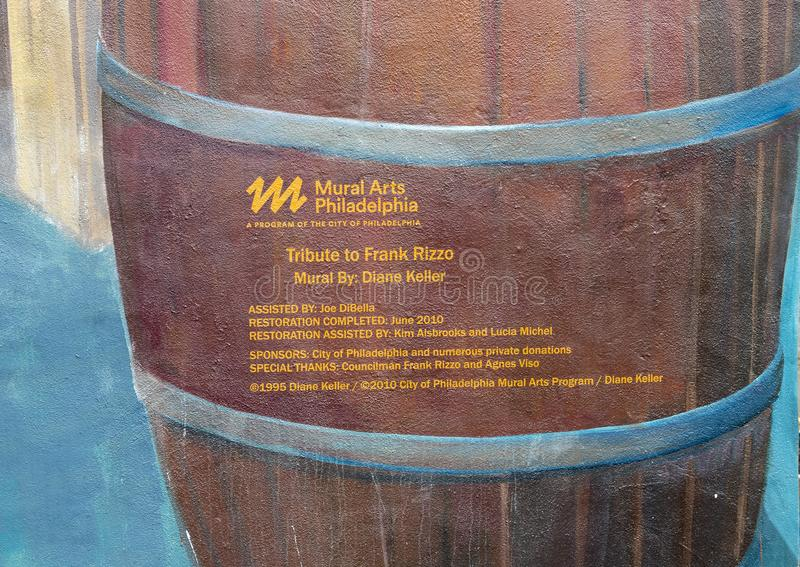 Tribute to Frank Rizzo Mural information in the Italian Market, South Philadelphia. Pictured is a closeup of the information on `Tribute to Frank Rizzo`, a mural royalty free stock photography