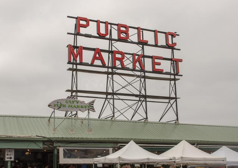 Sign over Pike Place Market, Seattle, Washington stock photos