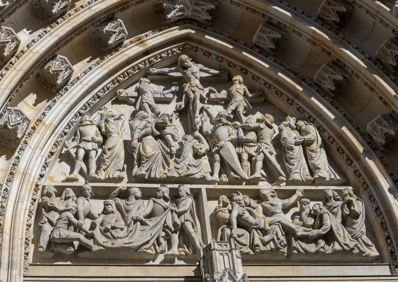 Closeup view of the Great West Door, St. Vitus`s Cathedral, Prague Castle, Czech Republic. Pictured is a closeup view of the top of the Great West Door, St stock image