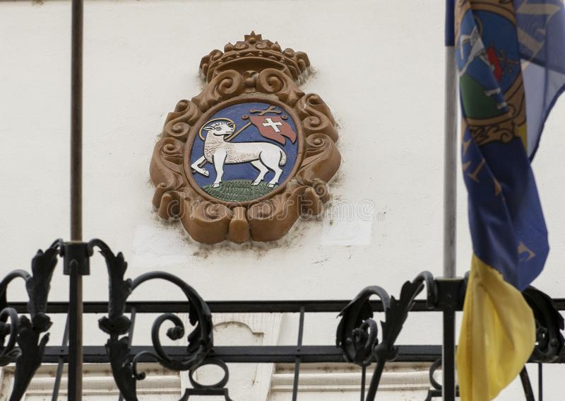 Coat of arms with The Lamb of God, Szentendre, Hungary royalty free stock image