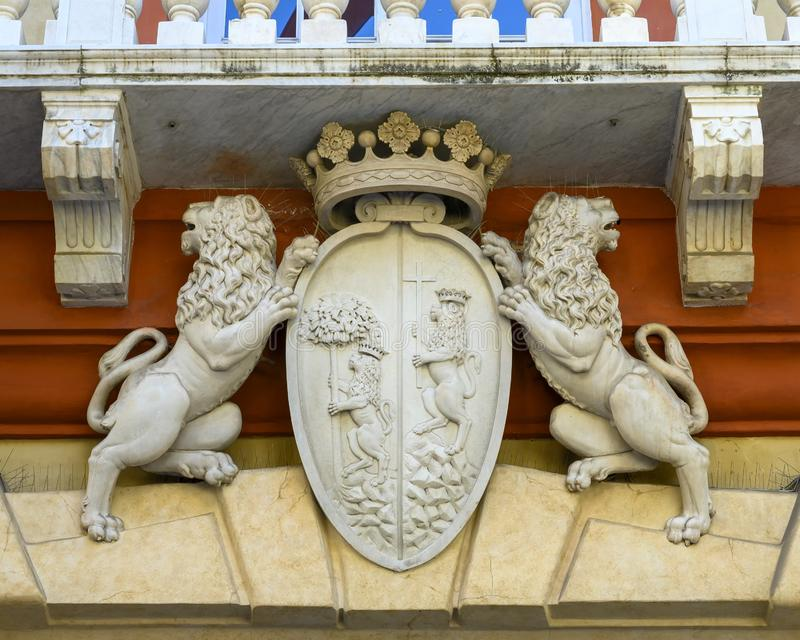 Coat of arms with lions, Palazzo Rosso, Genoa, Italy stock photography