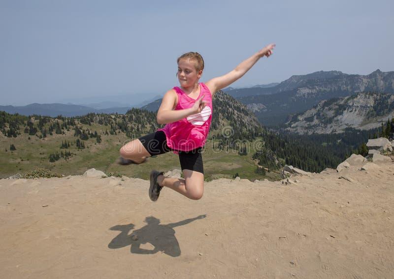 Eleven year-old Caucasian girl posing in Mount Rainier National Park, Washington royalty free stock photo