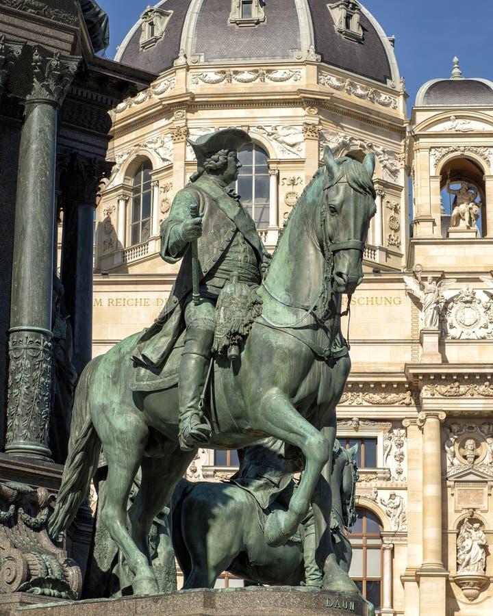 Equestrian statue General Daun, Empress Maria Theresa Monument, Vienna, Austria stock photo