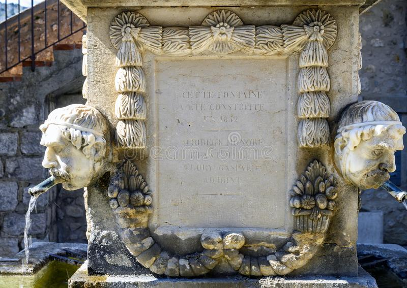 1852 Fountain dedicated to Jean-Louis Cavalier in Gourdon Village, France. Pictured is an 1852 Fountain dedicated to Jean-Louis Cavalier in Gourdon Village royalty free stock photos