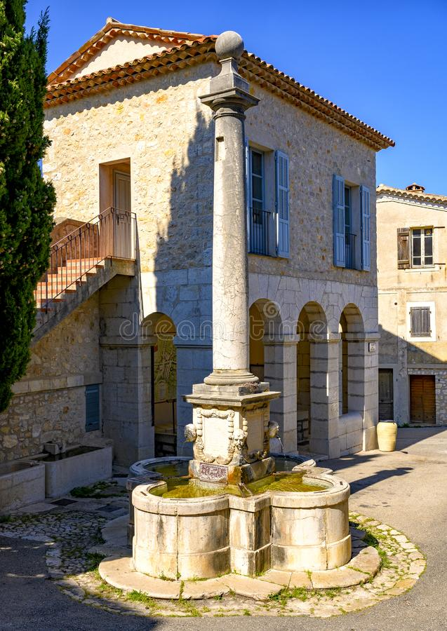1852 Fountain dedicated to Jean-Louis Cavalier in Gourdon Village, France. Pictured is an 1852 Fountain dedicated to Jean-Louis Cavalier in Gourdon Village royalty free stock images