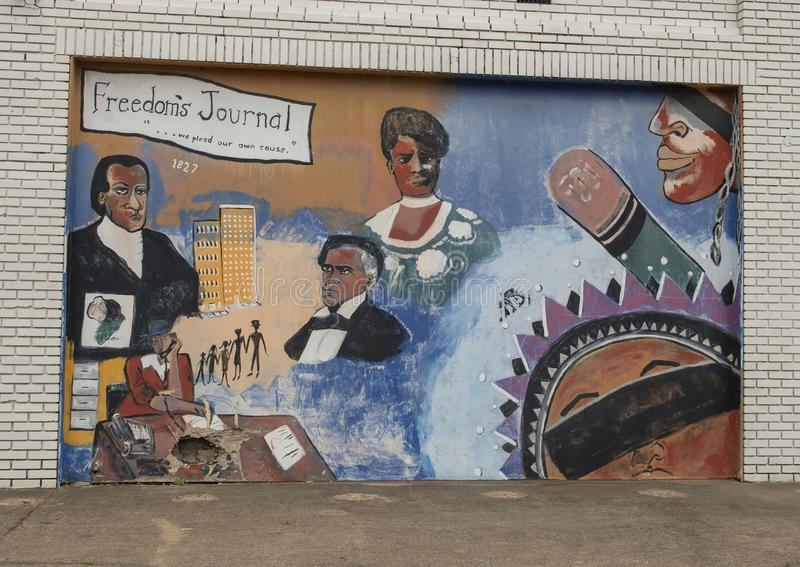 `Freedom`s Journey` mural by Bernice Montgomery, Dallas, Texas. Pictured is the `Freedom`s Journal` mural painted in 1992 by mural artist Bernice Montgomery. It stock images