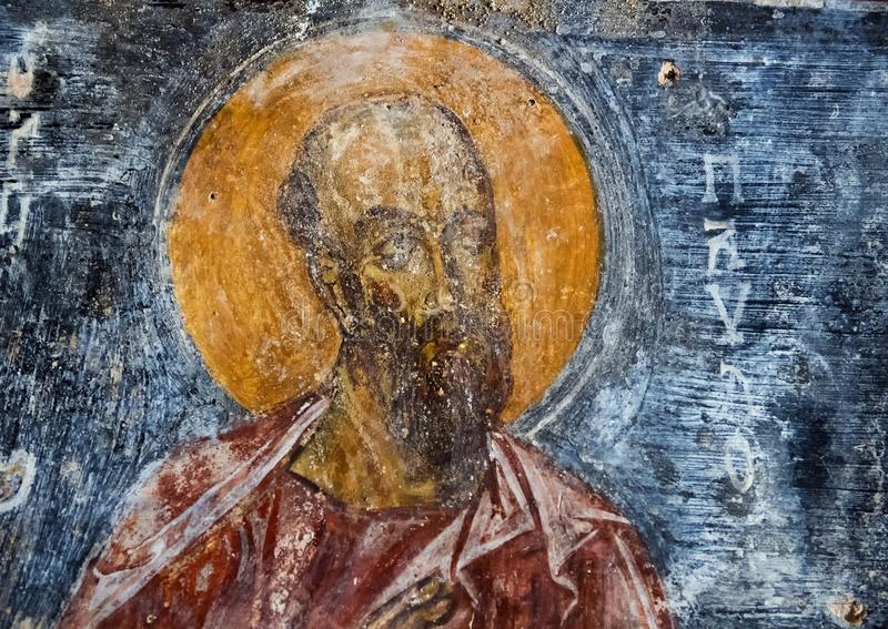Fresco Saint Paul the Apostle, La Chiesa di San Lorenzo, Parco Rupestre Lama D`Antico royalty free stock images