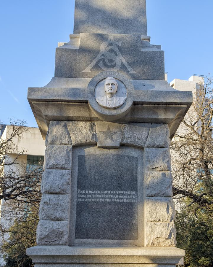 Front of the Confederate War Memorial in Dallas, Texas. Pictured is the front of the Confederate War Memorial in Dallas, Texas. The letters CSA stand for royalty free stock photos