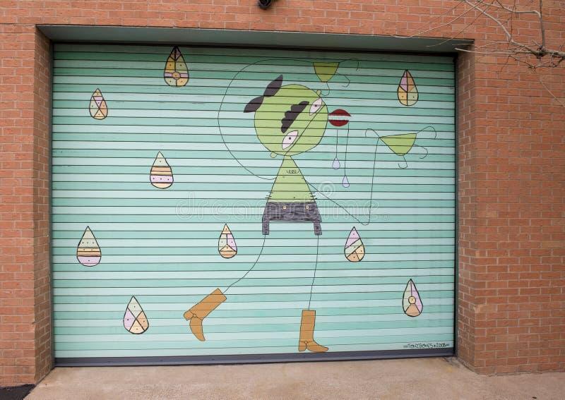 Garage Door Art Mural In Deep Ellum Dallas Texas Editorial